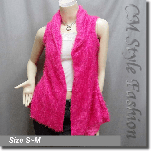 Faux Fur Fluffy Front Open w/ Floral See Through Back Vest Top Pink