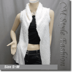 Faux Fur Fluffy Front Open w/ Floral See Through Back Vest Top White