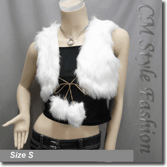 Faux Fur Fluffy Pom Pom Front Tie Vest Top White