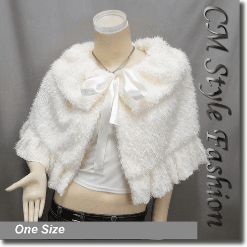 Faux Fur Fluffy Rippled Cape Wrap Shawl Top Beige