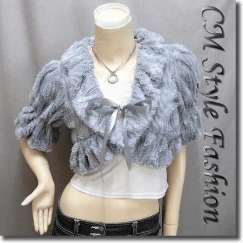 Faux Fur Front Tie Cropped Jacket Coat Gray / Grey