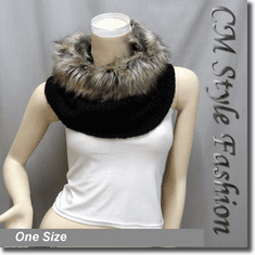 Faux Fur Knitted Neck Warmer Wrap Scarf Black