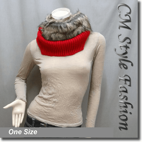 Faux Fur Knitted Neck Warmer Wrap Scarf Red