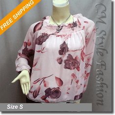 Flared Fairy Floral Chiffon Blouse Boho Top Pink