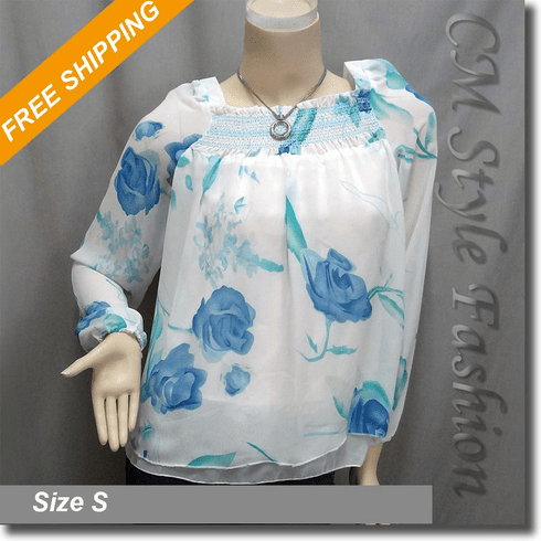 Flared Fairy Floral Chiffon Blouse Boho Top White Blue