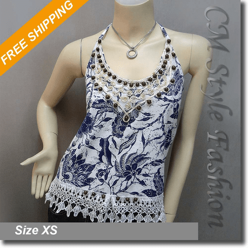 Floral Beaded Crochet Trim Patterned Halter Tank Top White Blue