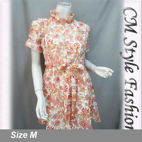 Floral Crinkle Drawstring Dress Coral Peach Pink White