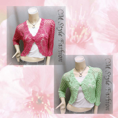 Floral Crochet Beaded Bolero Top Series