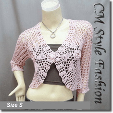 Floral Crochet Scallop Beaded Bolero Top Pink