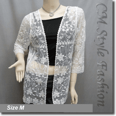 Floral Embroidered Lace Mesh Cardigan Shrug Beige