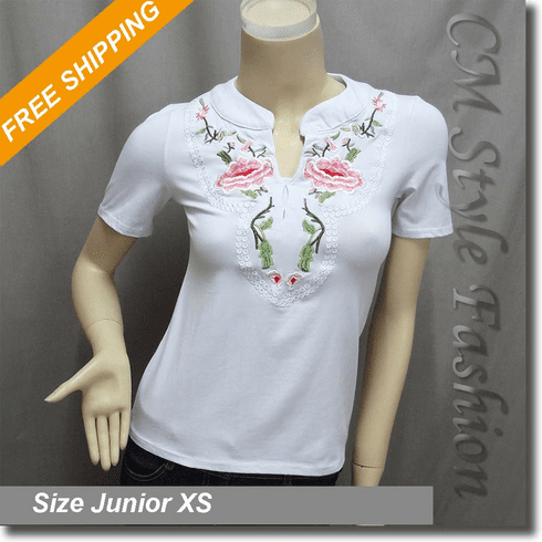 Floral Embroidery Tee Blouse Top White