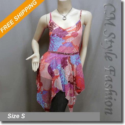Floral Flowy Spaghetti Strap Sequin Camisole Top Multi Color