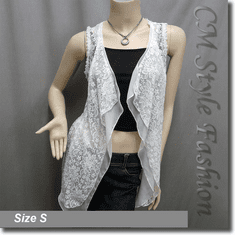 Floral Lace Flowy Long Layering Vest Cardigan Top White