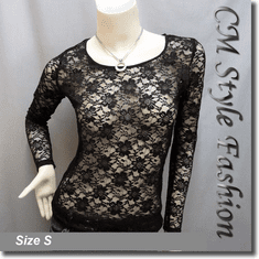 Floral Lace See Through Blouse Top Black