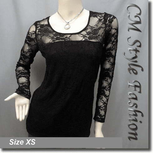 Floral Lace See Through Sheer Blouse Black