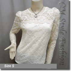 Floral Lace See Through Sheer Blouse Top Beige