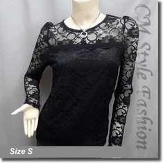 Floral Lace See Through Sheer Blouse Top Black