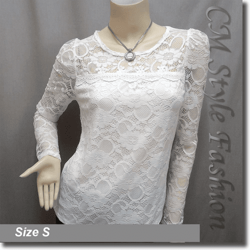 Floral Lace See Through Sheer Blouse Top White