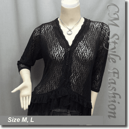 Floral Lace Sheer Cardigan Blouse Top Black