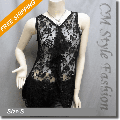 Floral Lace Sheer Ruffle Flowery Tank Tunic Top Black