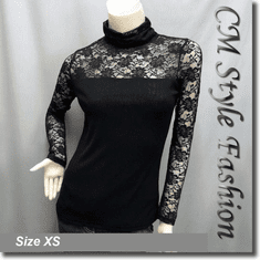Floral Lace Sheer Sleeves Turtleneck Blouse Top Black