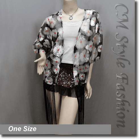 Floral Mesh Kimono Sleeve Fringes Cardigan Top Black Gray