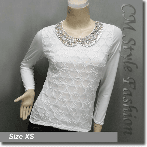 Floral Organza Sequined Beaded Peter Pan Collar Shirt Blouse Top White