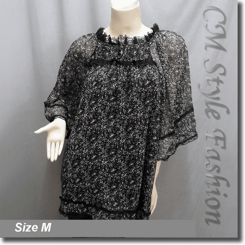 Floral Print Chiffon Lace Trim Frock Tunic Top