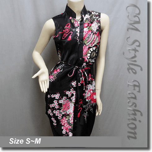 Floral Prints Shirt Dress Tunic Satin Top Black