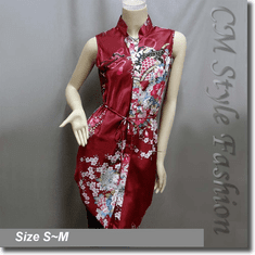 Floral Prints Shirt Dress Tunic Satin Top Burgundy