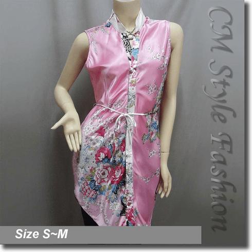 Floral Prints Shirt Dress Tunic Satin Top Pink