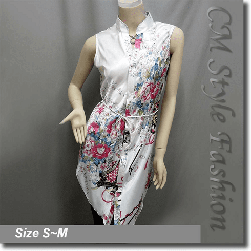 Floral Prints Shirt Dress Tunic Satin Top White