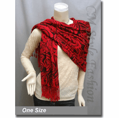 Floral Prints Stole Scarf Shawl Wrap Black Red