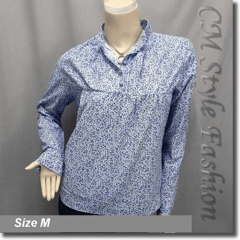 Floral Retro Vintage Stand Up Collar Blouse Shirt Top Blue