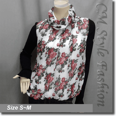 Floral Rose Prints Turtleneck Blouse Top Pink White Black