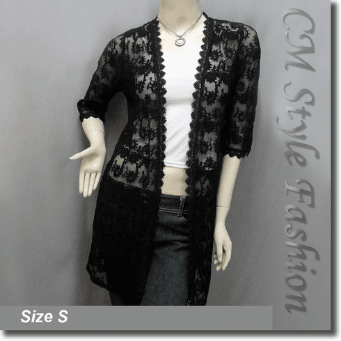 Floral Sheer Lace Crochet Trimmed Long Cardigan Top Black
