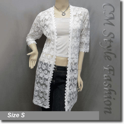 Floral Sheer Lace Crochet Trimmed Long Cardigan Top Off White