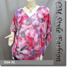 Flowy Chiffon Abstract Floral Print Boho Top Red Pink Purple