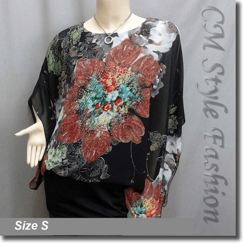 Flowy Chiffon Floral Dual Layered Tunic Top Black