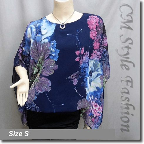 Flowy Chiffon Floral Dual Layered Tunic Top Blue