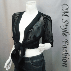 Flowy Ruffled Burn Out Mesh Cardigan Black