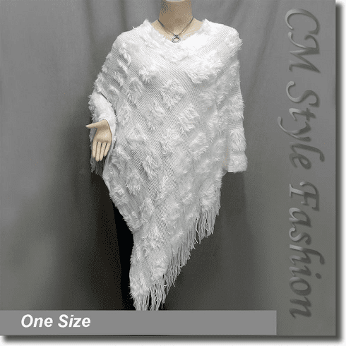 Fluffy Fringe Poncho Drape Top Off White
