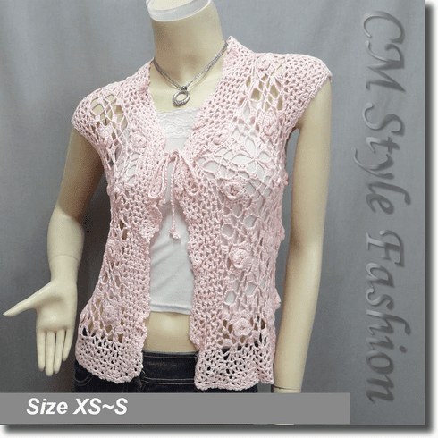 Front Tie Applique Crochet Knit Top Pink