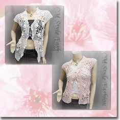 Front Tie Applique Crochet Knit Top Series