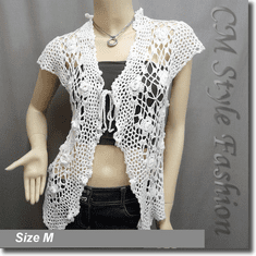 Front Tie Applique Crochet Knit Top White