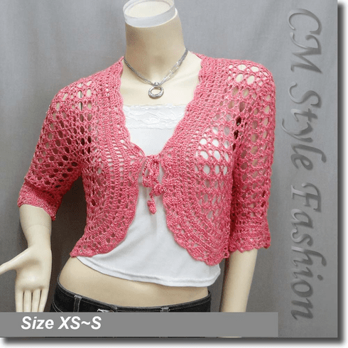 Front Tie Crochet Silvery Thread Bolero Top Pink