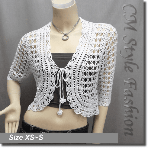 Front Tie Crochet Silvery Thread Bolero Top White