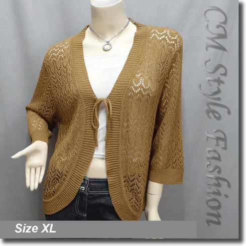 Front Tie Eyelet Crochet Cardigan Brown