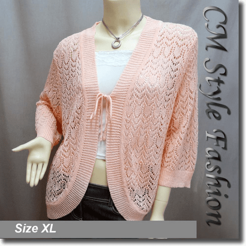Front Tie Eyelet Crochet Cardigan Orange