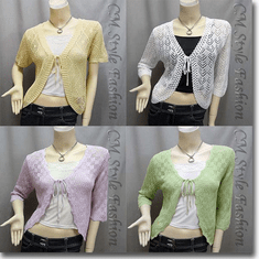 Front Tie Eyelet Crochet Cardigan Sweater Series